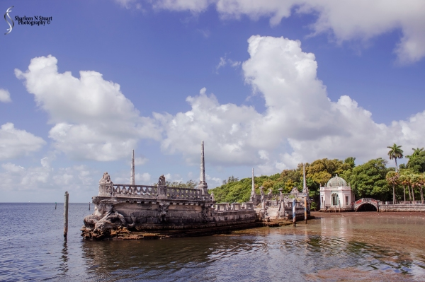 This barge spans the water entrance to Vizcaya.  From what I have read, back in the peak of the usage of this home, guests would gather for tea and events on these concrete barges.  The barges were built as a water break.  In order to get to the barge guests were taken out in rowing boats.