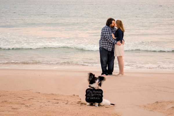 Cameron & Kathryn on the beach with the dog.