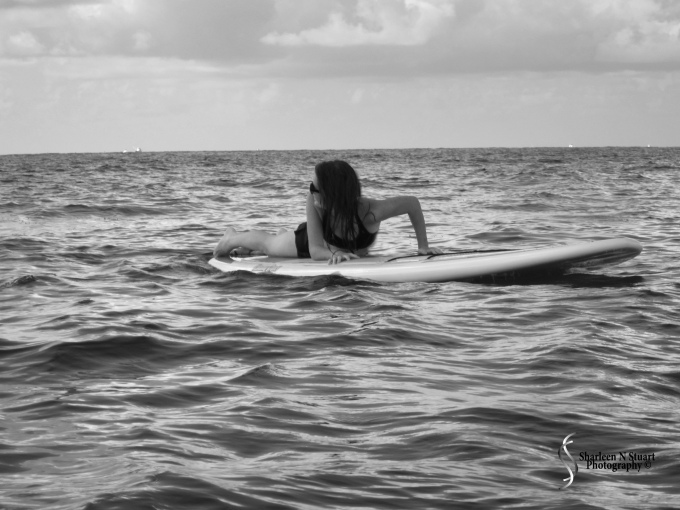 Smooth waves with a paddle board as a surf board