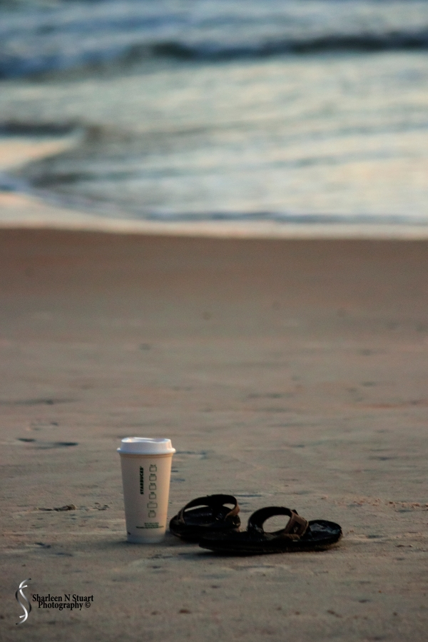 This is the first sunrise I had the pleasure of watching. You cannot go to the beach without your coffee and flip flops