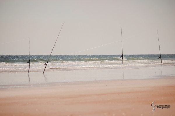 Fishing poles were stacked in the best spots of the beach - right where the waves were breaking.