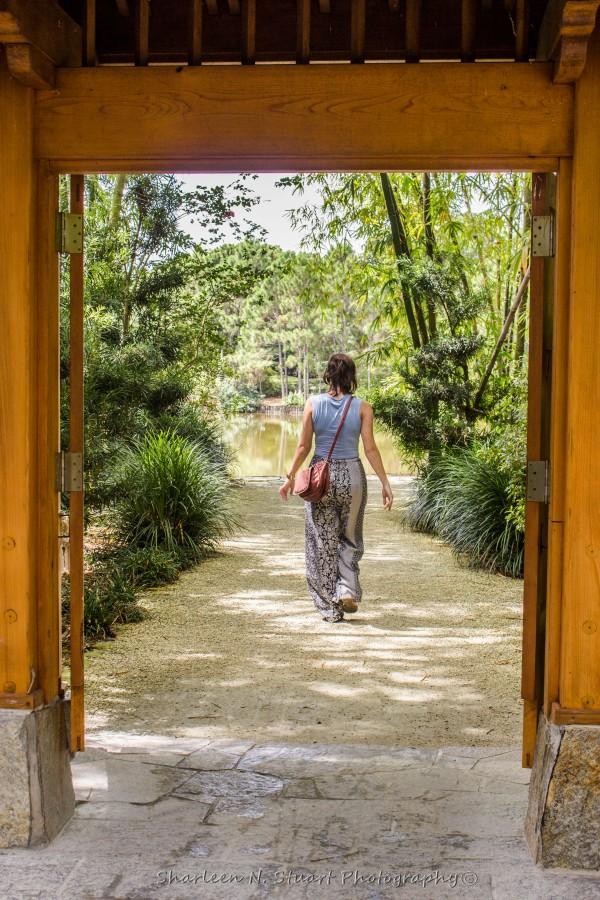 Amy walking through the gates