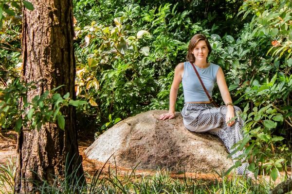Amy on a rock