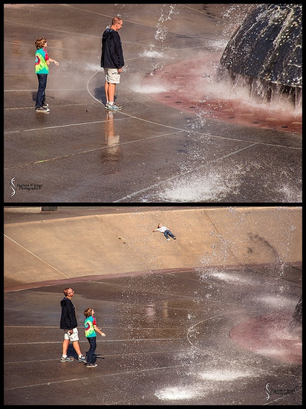 Playing in the fountains