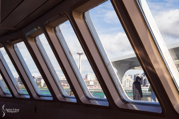 The Space Needle through the Ferry windows