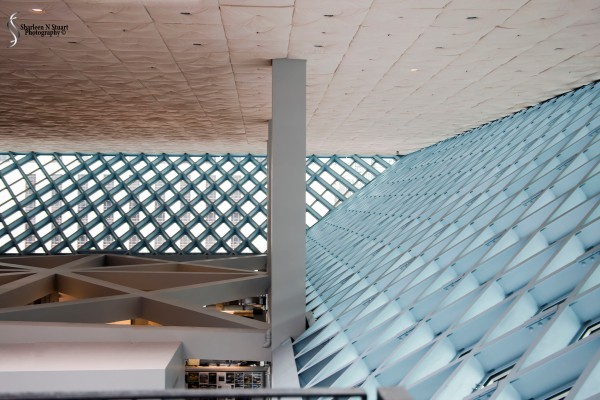 Inside the Seattle Library - looking across the 10th floor level.
