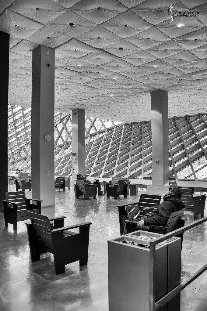Inside the Seattle Library - starting at the 10th floor.