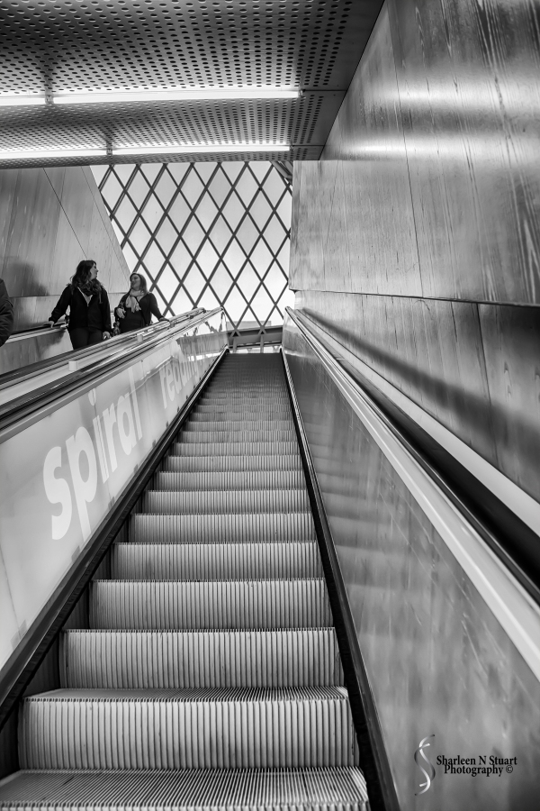 The Seattle City Library - heading up the escalator to the main level.