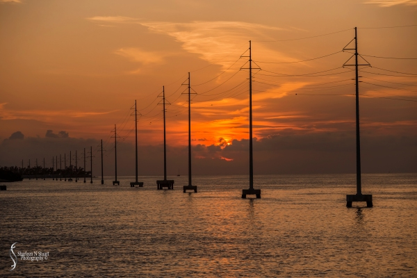 Sunset from the bridge leaving Islemorado