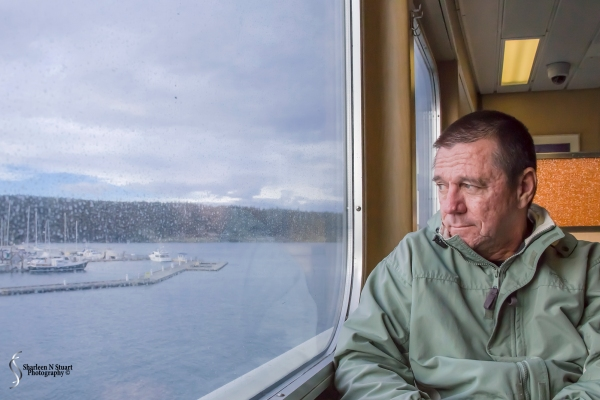 Arriving in Friday Harbor. Richard is unusually bundled up and prepared for the windy cold weather when we exit the ship.