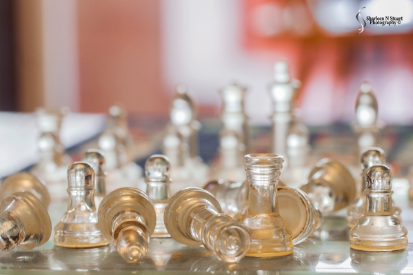 "The chess set was lying on the coffee table and I thought ""this is also glass""."