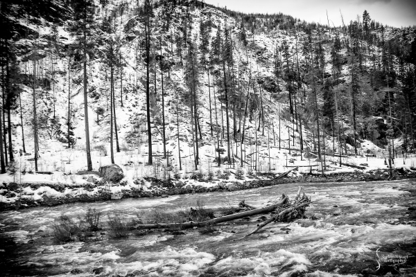The rushing rivers as a result of the snow.