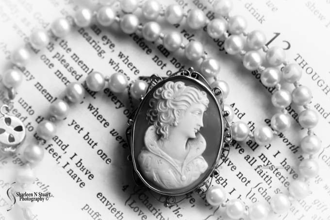 The cameo and pearls were my grandmothers and I have a lot of good memories of her. The Bible belonged to Richards grandmother and she passed it down to him before she died. Faith is a strong foundation of my life, and am always reminded that this bible is an inheritance passed down from generation to generation.